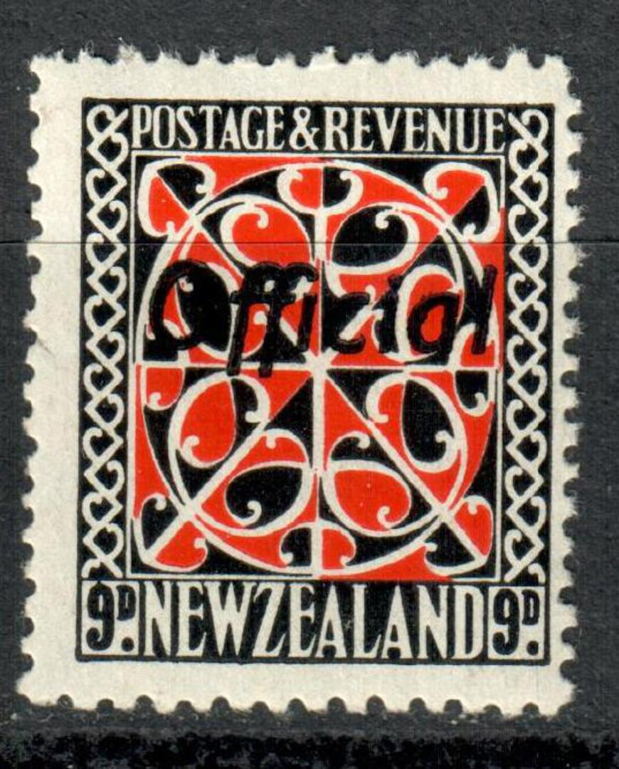 NEW ZEALAND 1935 Pictorial Official 9d Red and Black with Black Overprint. - 181 - UHM image 0