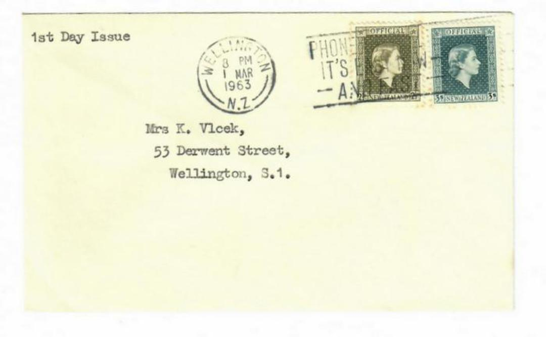 NEW ZEALAND 1963 Elizabeth 2nd Officials including the 3/-. - 30021 - PostalHist image 0