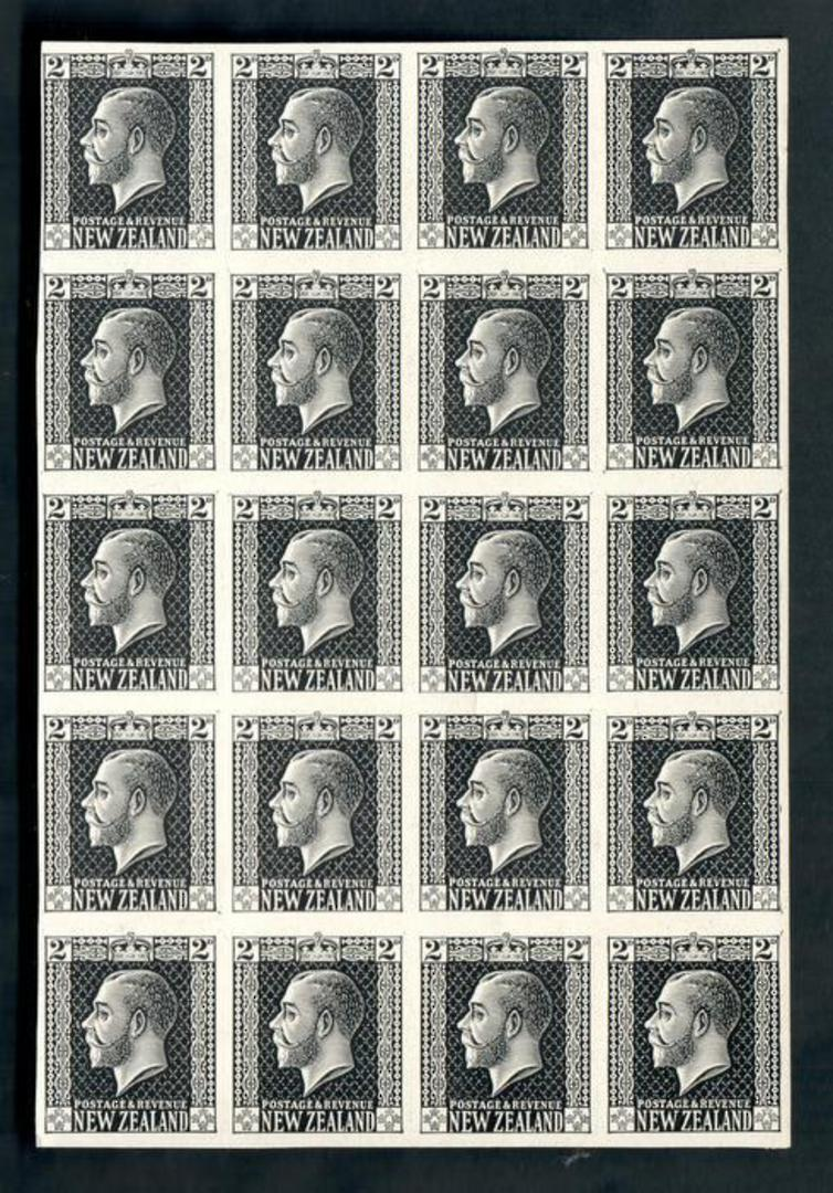 NEW ZEALAND 1915 Geo 5th Definitive 2d Black. Proof. Block of 20. - 50162 - Proof image 0