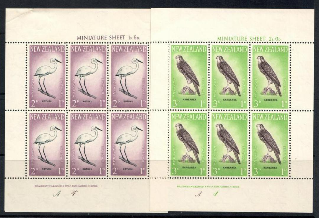 NEW ZEALAND 1961 Health miniature sheets featuring birds: Kotuku and Karearea. - 12661 - UHM image 0