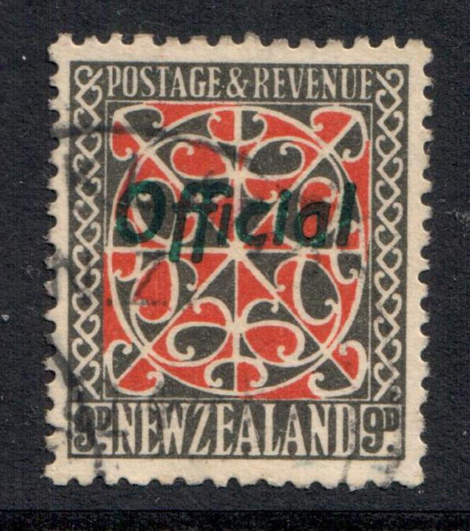 NEW ZEALAND 1935 Pictorial Official 9d Red and Grey with the green overprint. - 10182 - VFU image 0
