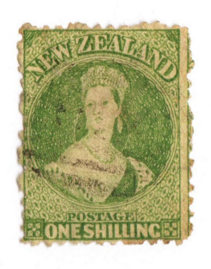 NEW ZEALAND 1862 Full Face Queen 1/- Green. Perf 12½. Very light postmark off face. - 3562 - FU image 0