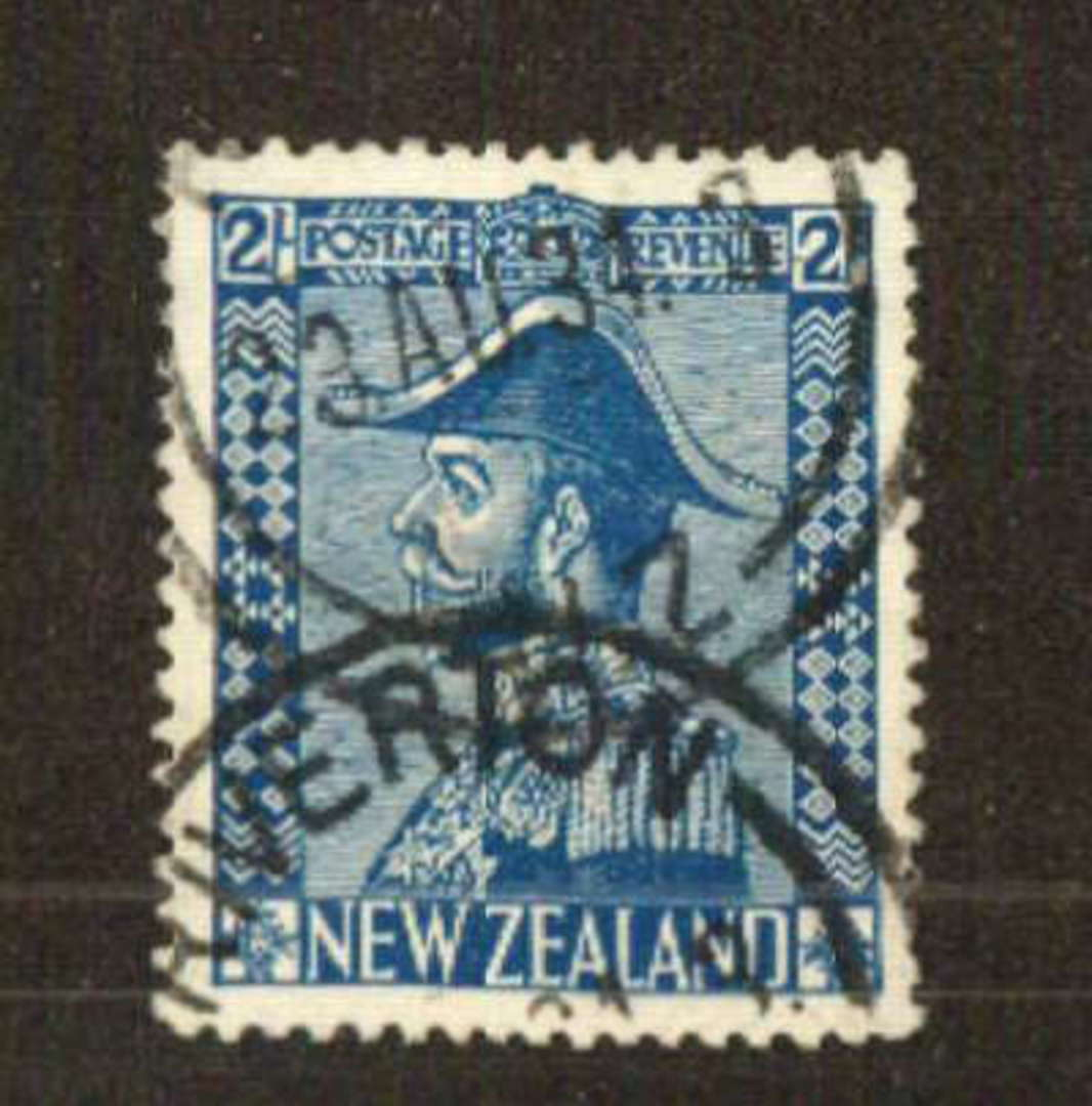 NEW ZEALAND 1926 Geo 5th Definitive 2/- Deep Blue. Jones chalk surfaced paper. Well postmarked but does not cover the face. RIVE image 0