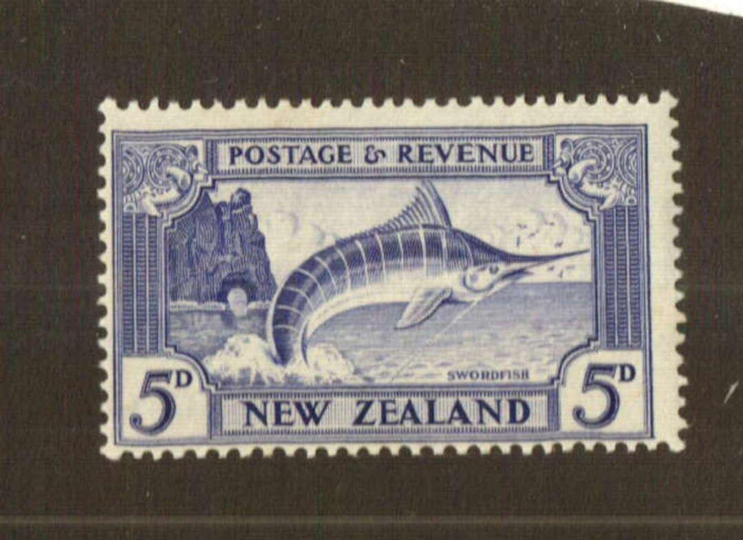 NEW ZEALAND 1935 Pictorial 5d Swordfish. Perf 13.5 x 14. - 74791 - UHM image 0