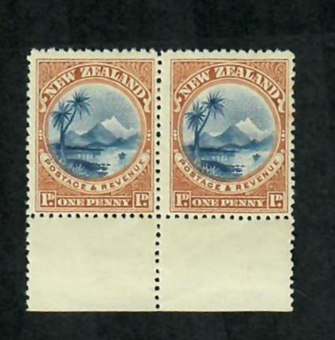NEW ZEALAND 1898 Pictorial 1d Blue and Chestnut. CP E2a(2). Marginal pair. - 74838 - UHM image 0