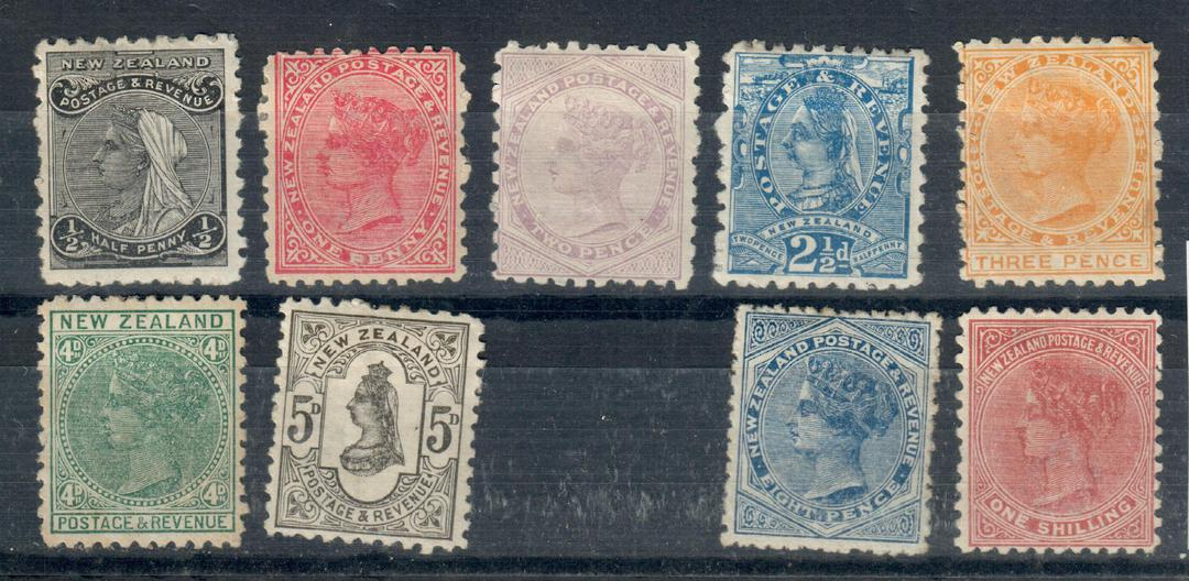 NEW ZEALAND 1882 Victoria 1st Second Sidefaces. Set of 10. - 20987 - Mint image 0