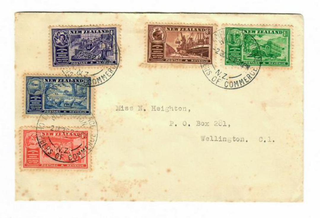NEW ZEALAND 1936 Chamber of Commerce first day cover. Rusted. Only of value as a used set. First day cover has a CatVal of $NZ 4 image 0