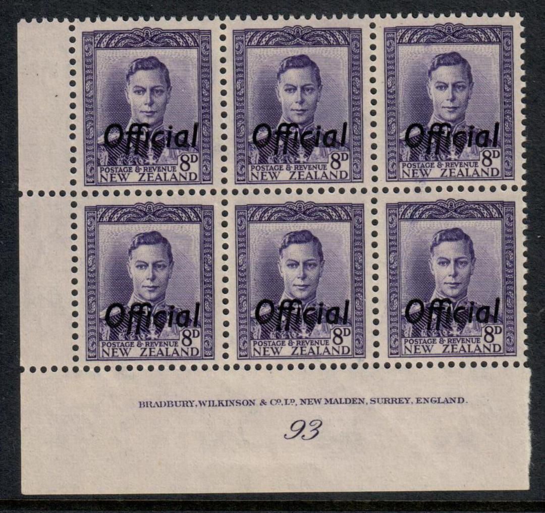 NEW ZEALAND 1938 Geo 6th Official 8d Violet. Plate 93. - 56530 - UHM image 0