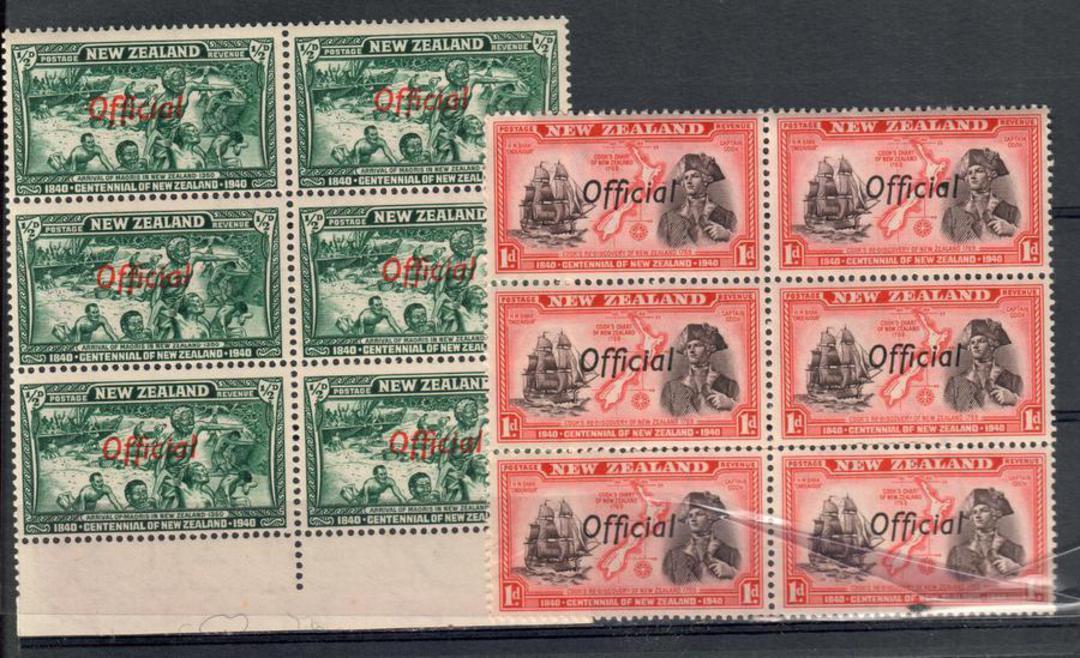 NEW ZEALAND 1940 Centennial Officials ½d + 1d in blocks of 6. - 20661 - UHM image 0