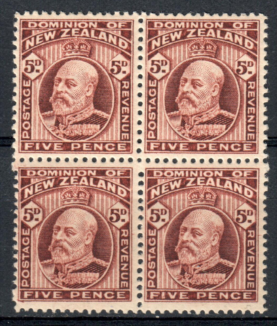 NEW ZEALAND 1909 Edward 7th 5d Deep Brown. Block of 4. 2 perf pair. - 79559 - LHM image 0