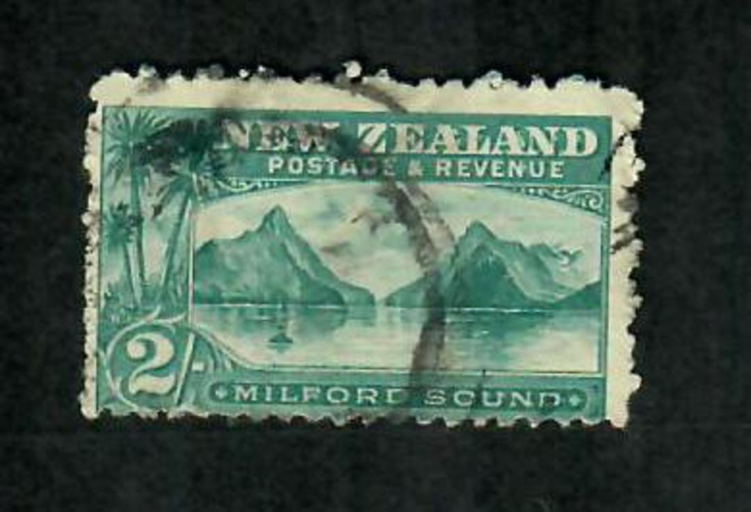 NEW ZEALAND 1898 Pictorial 2/- Blue-Green on Laid Paper. Commercially used.. - 74170 - Used image 0