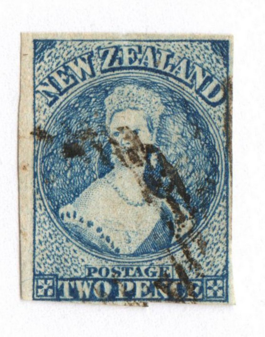 NEW ZEALAND 1862 Full Face Queen 2d Blue. Imperf. Davies print. Watermark Large Star. Intermediate plate wear. Four margins. - 7 image 0
