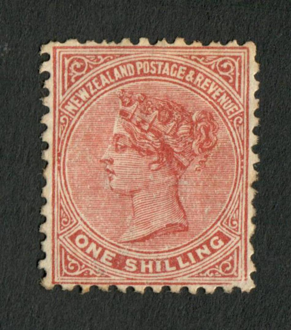 NEW ZEALAND 1882 Victoria 1st Second Sideface 1/- Red-Brown. Perf 12x11½. - 4203 - Mint image 0