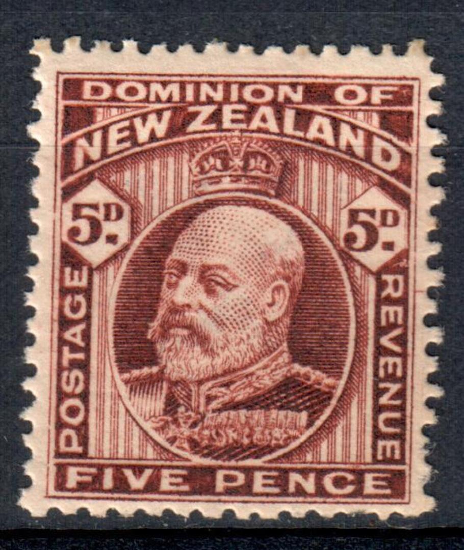 NEW ZEALAND 1909 Edward 7th Definitive 5d Brown. - 82 - UHM image 0