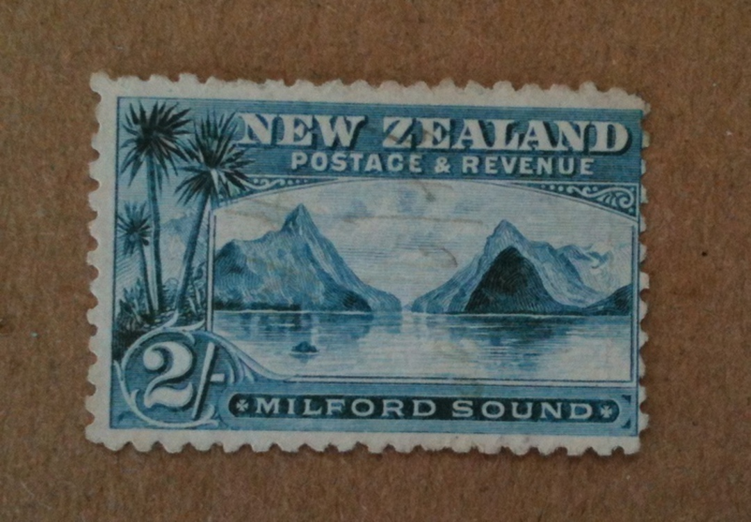 NEW ZEALAND 1898 Pictorial 2/- Green. Second Local Print. Perf 11. Watermark. Something has happened to this stamp. Probably Rot image 0
