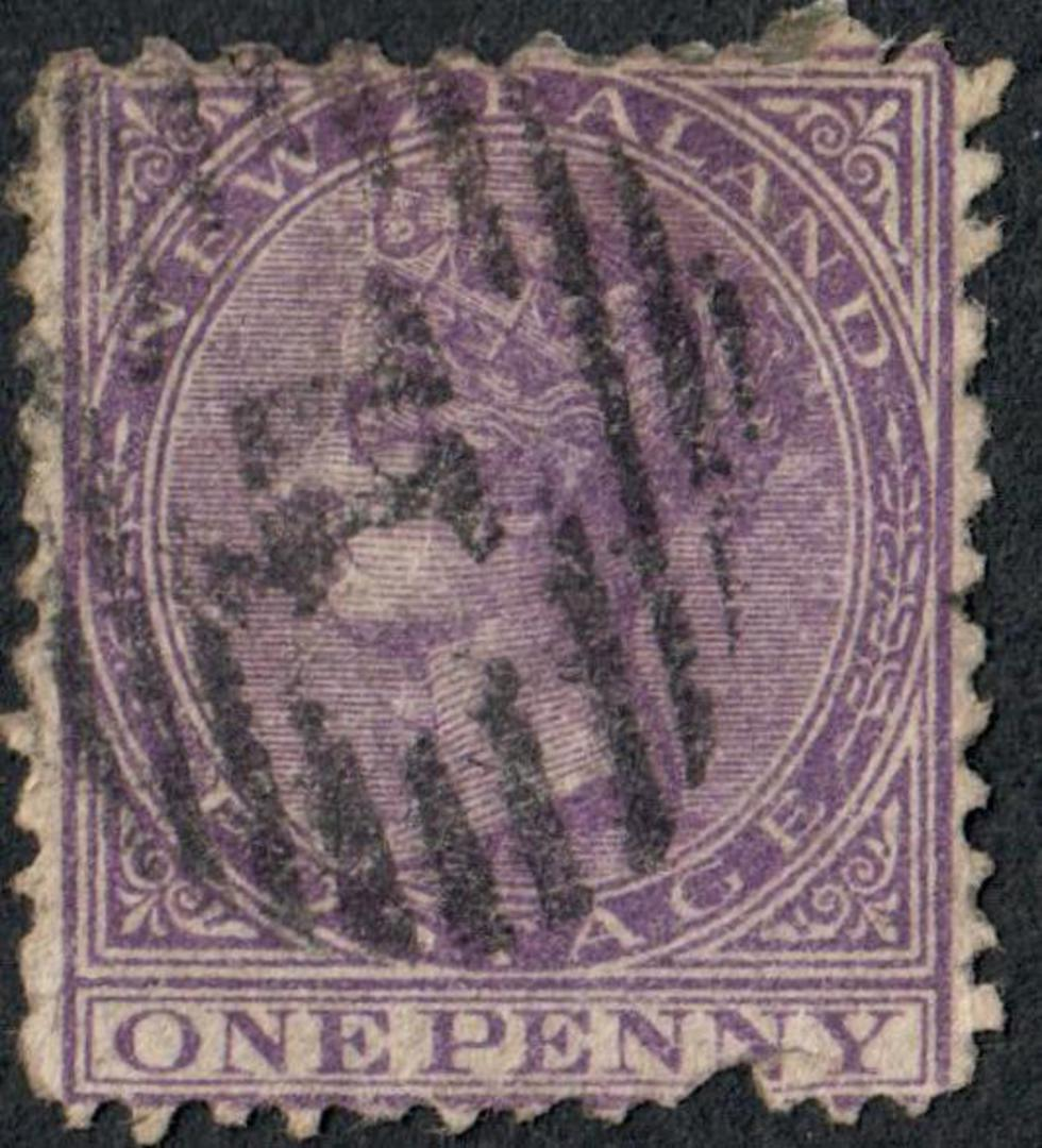 NEW ZEALAND 1874 Victoria 1st Definitive First Sideface 1d Violet. Stated to be Perf 10x12½x13½x12½. 13½ on the bottom margin. F image 0