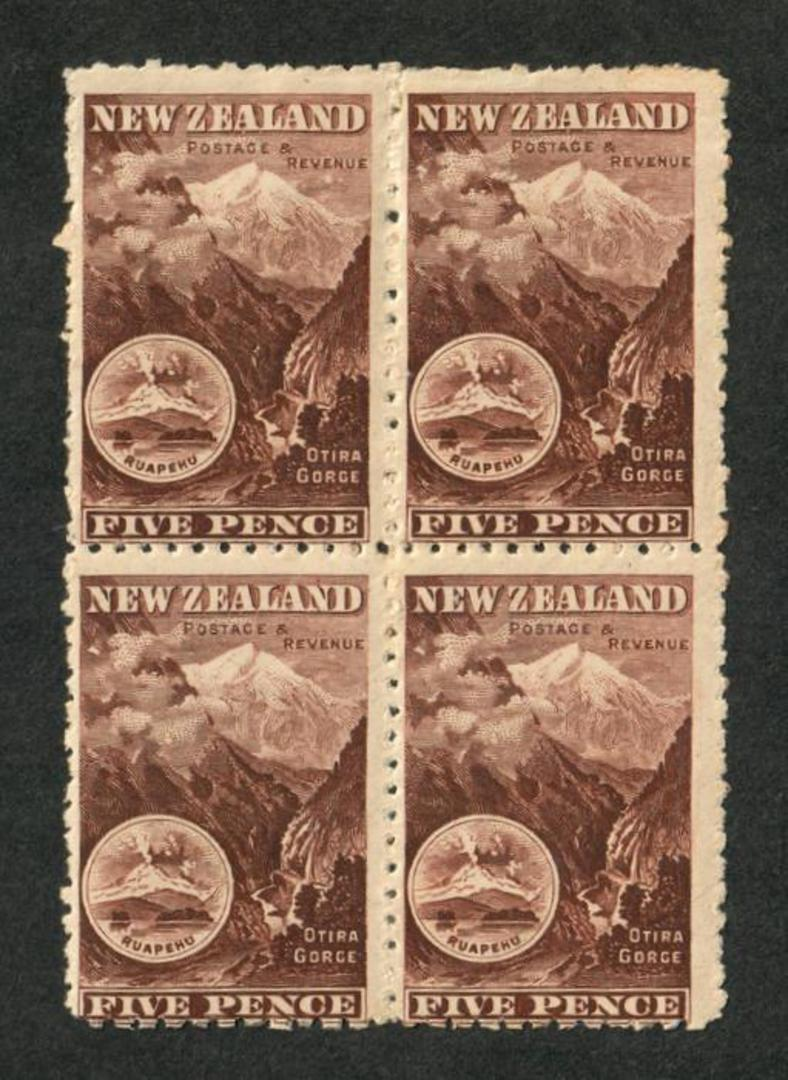 NEW ZEALAND 1898 Pictorial 5d Otira. Block of 4. Two never hinged. First Local Issue on Unwatermarked Paper. Perf 11. - 74851 - image 0