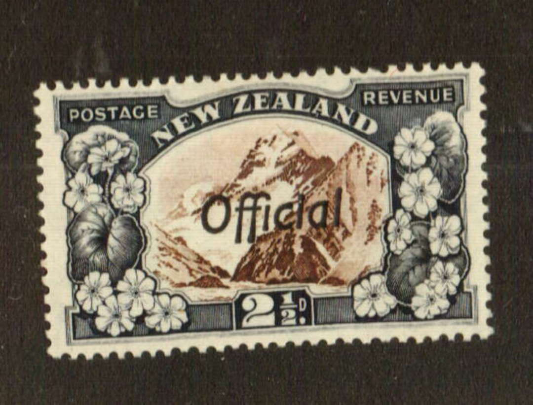 NEW ZEALAND 1935 Pictorial Official 2½d Mt Cook. Perf 14-13 x 13.5. - 74761 - LHM image 0