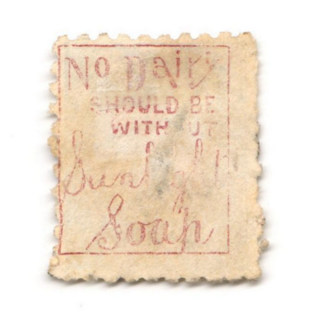 NEW ZEALAND 1882 Victoria 1st Second Sideface 2½d Blue. Sunlight Soap. Perf 10. In mauve. - 3973 - FU image 0