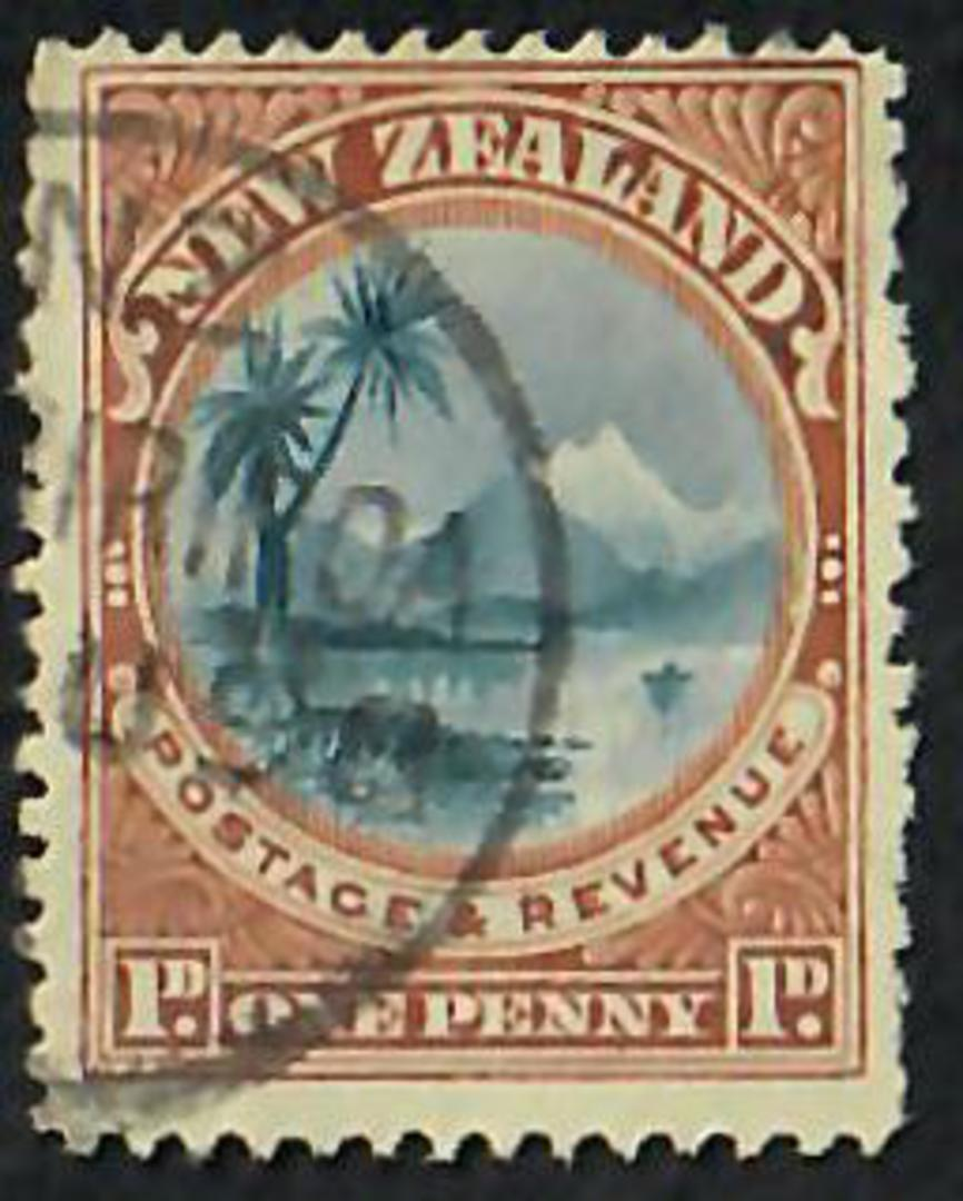 NEW ZEALAND 1898 Pictorial 1d Lake Taupo. Plate 2 re-entry vii. - 3597 - Used image 0