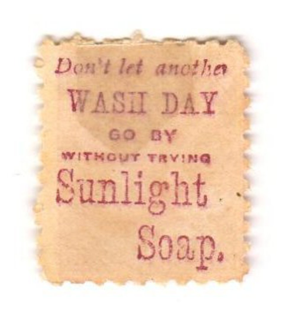 NEW ZEALAND 1882 Victoria 1st Second Sideface 1D Red. Don't Let another Wash Day go by without using Sunlight Soap. - 3968 - Min image 0