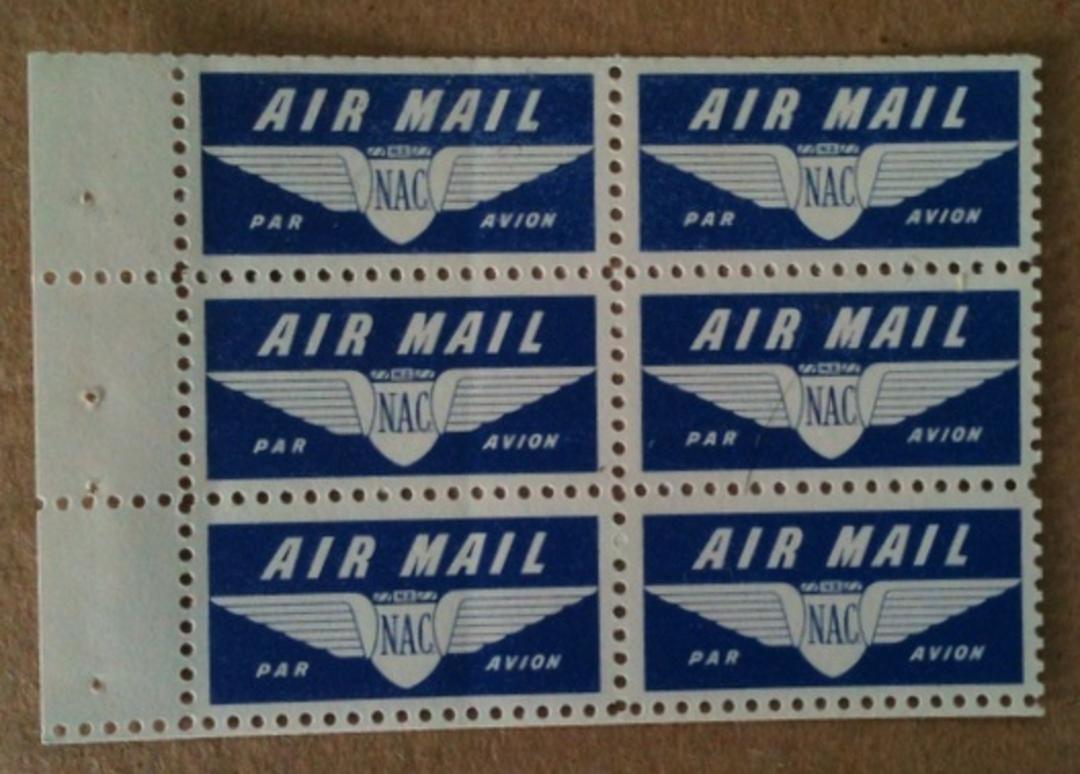 NEW ZEALAND 1954 Elizabeth 2nd  Booklet Pane of NAC Airmail Labels. - 74623 - UHM image 0