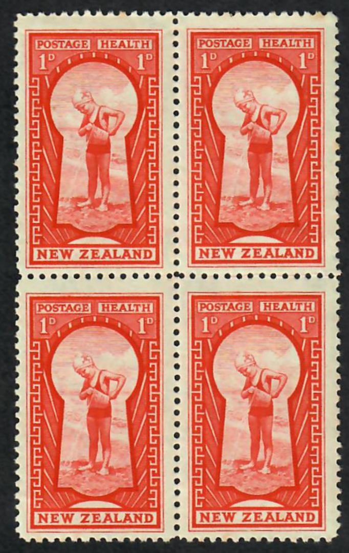 NEW ZEALAND 1937 Health Climber. Block of 4. Top two stamps very lightly hinged. - 21807 - Mixed image 0