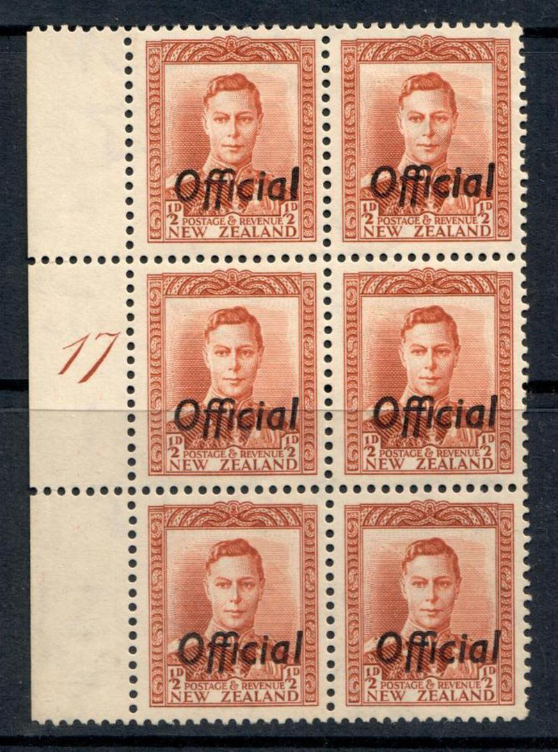 NEW ZEALAND 1938 Geo 6th Official ½d Chesnut. Plate 17. - 54370 - UHM image 0