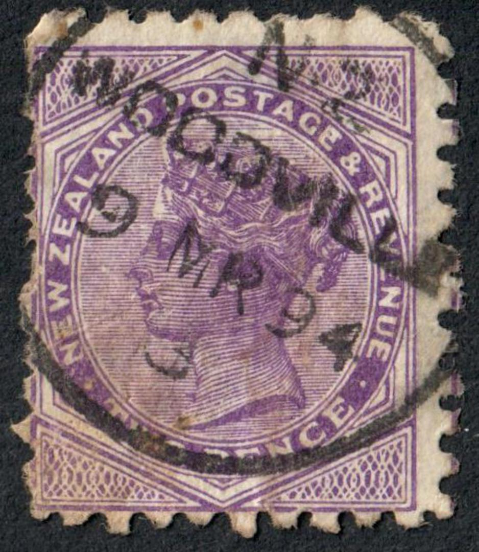 NEW ZEALAND 1882 Victoria 1st Second Sideface 2d Mauve. Perf 10. Secnd setting. A Slight Cold Use at once Bonnington's Irish Mos image 0