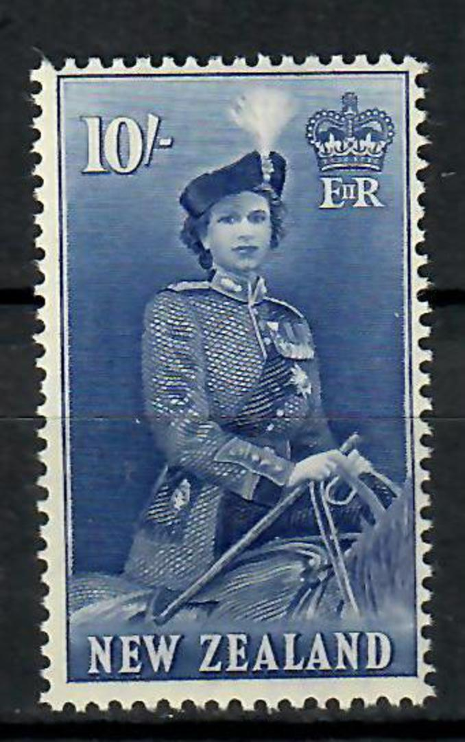 NEW ZEALAND 1953 Elizabeth 2nd Definitive 10/- Blue. Good perfs. Centred north east. - 70557 - LHM image 0