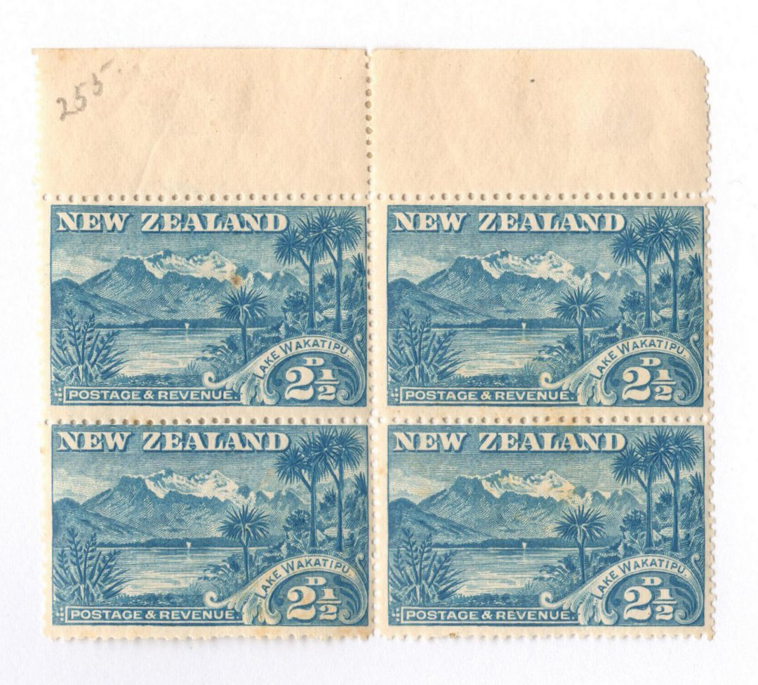 NEW ZEALAND 1898 Pictorial 2½d Pale Blue. London Print. No Watermark. Block of 4. Hinged on the selvedge. - 20991 - UHM image 0