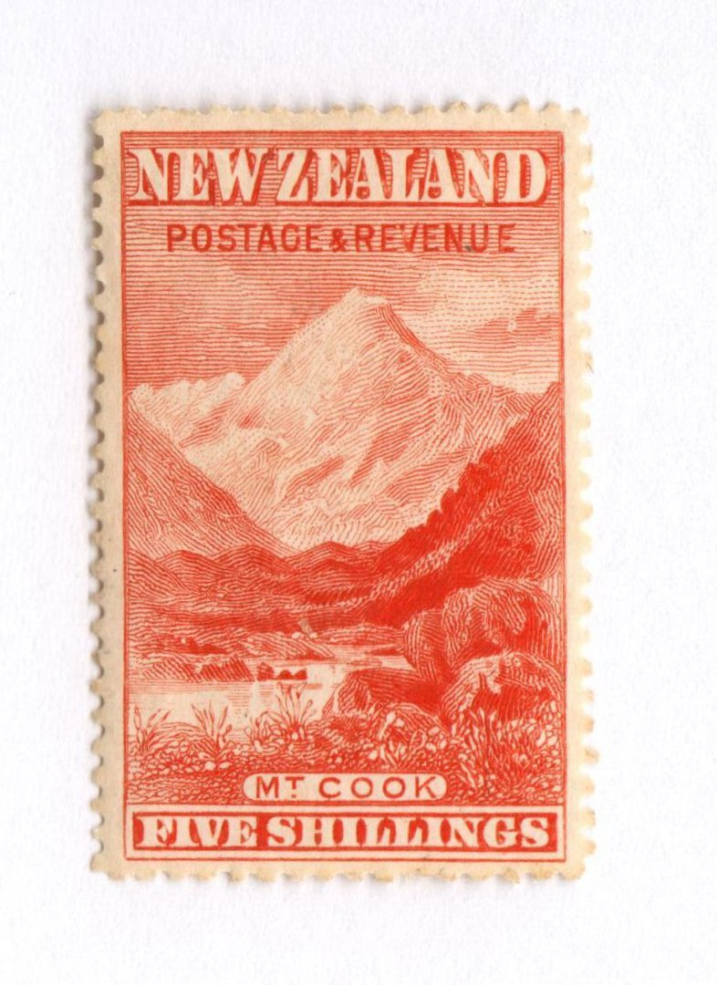 NEW ZEALAND 1898 Pictorial 5/- Vermilion. London Print. Extemely very lightly hinged. - 79370 - LHM image 0