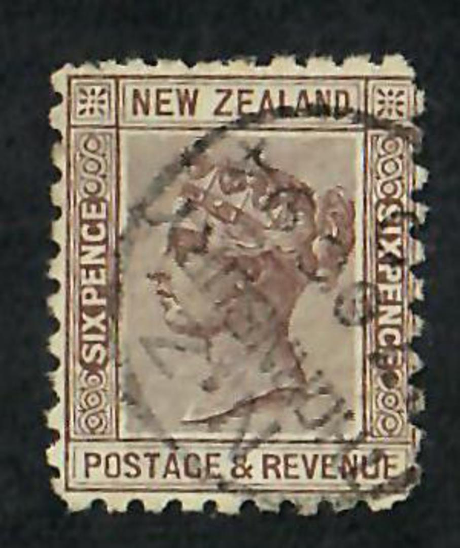 NEW ZEALAND 1882 Victoria 1st Second Sideface 6d Brown. Perf 10. 3rd setting in Brown-Red. Lalley Livermore. - 3999 - FU image 0