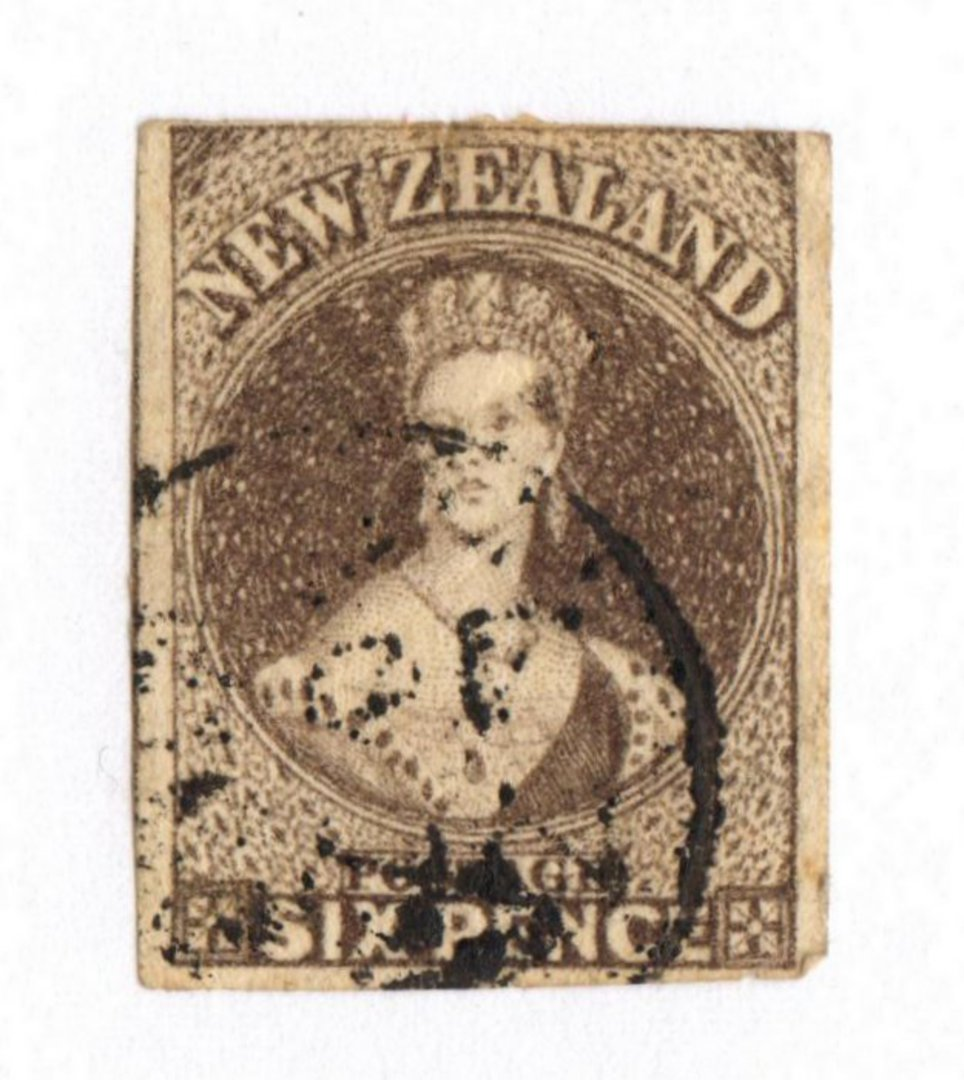 NEW ZEALAND 1862 Full Face Queen 6d Black-Brown Imperf.Watermark Large Star. Four margins. Stated to be early use of L3 cancel ( image 0