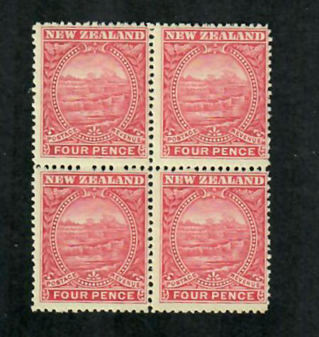 NEW ZEALAND 1898 Pictorial 4d Rose. Block of 4. Never hinged. - 74854 - UHM image 0