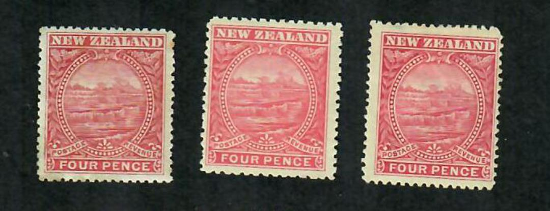 NEW ZEALAND 1898 Pictorial 4d Rose. Three distinct shades as listed in CP. In my opinion Deep Bright and Lake. - 74855 - Mint image 0