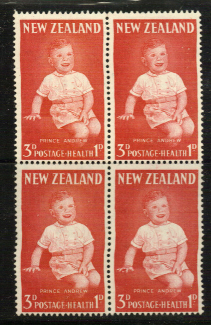NEW ZEALAND 1963 Health Major Flaw. Bloodstained finger. In block of 4. - 21133 - UHM image 0
