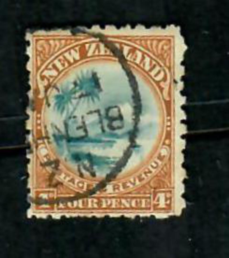 NEW ZEALAND 1898 Pictorial 4d Lake Taupo Greenish Blue and Bistre Brown. Perf 11. - 75198 - FU image 0