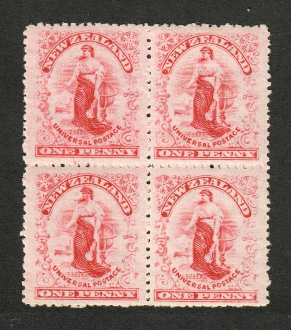 NEW ZEALAND 1901 1d Universal. Block of 4. Worn Plate. - 74135 - UHM image 0