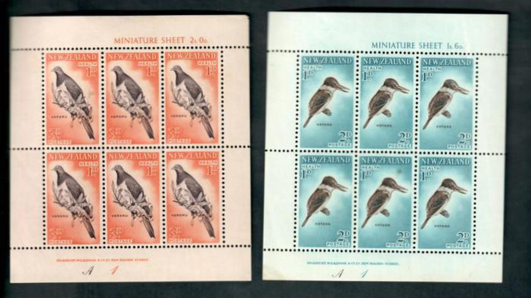 NEW ZEALAND 1960 Health miniature sheets featuring Birds. Slight faults. Scott B59a-B60a $US 24.00. - 50328 - UHM image 0