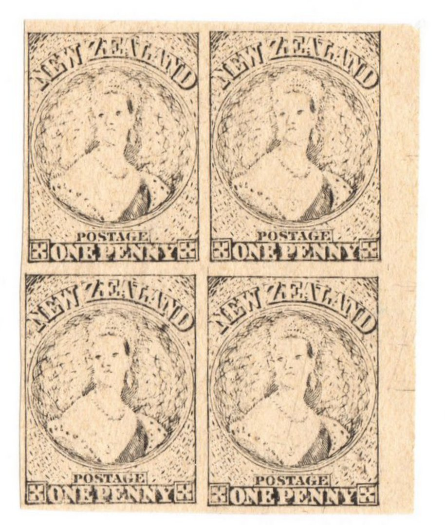 NEW ZEALAND 1855 Full Face Queen Hausberg Proofs in blocks of four. Eight blocks. - 37907 - image 2
