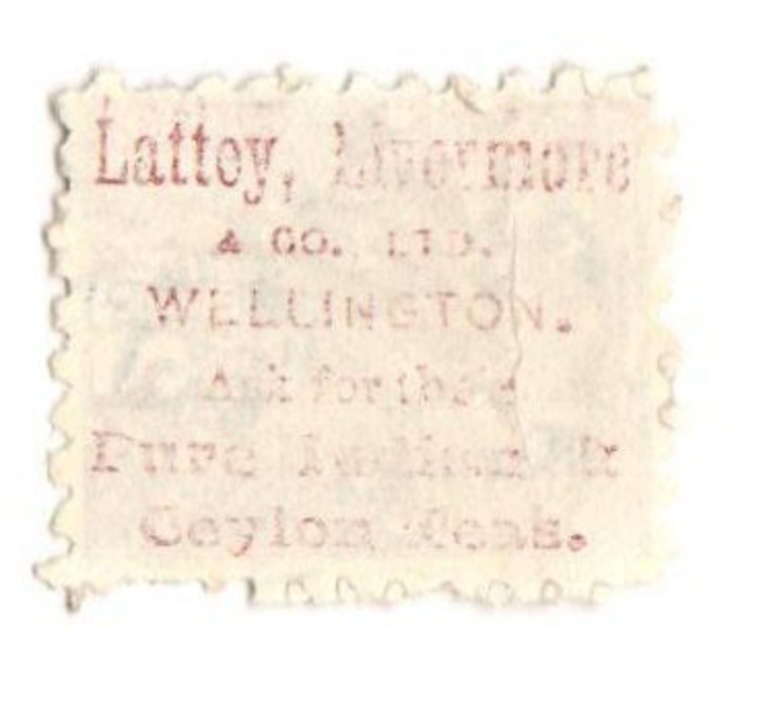 NEW ZEALAND 1882 Victoria 1st Second Sideface 2½d Blue. Lattey & Livermore. Perf 10. In mauve. - 3971 - FU image 0