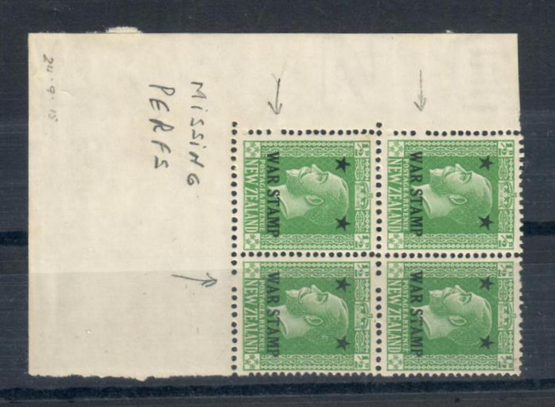 NEW ZEALAND 1915 Geo 5th War Stamp. Corner block of 4 with missing perfs. - 20332 - UHM image 0