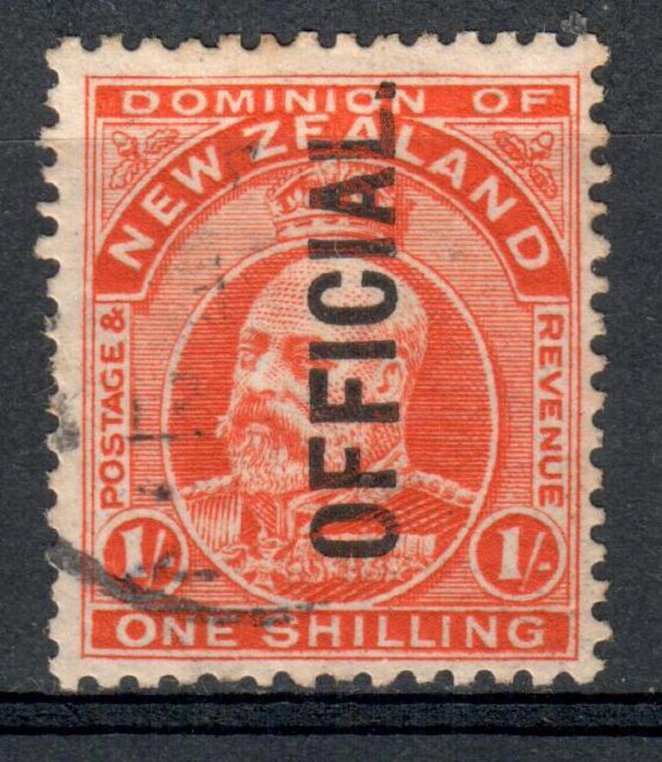 NEW ZEALAND 1909 Edward 7th Official 1/- Orange. - 10091 - FU image 0