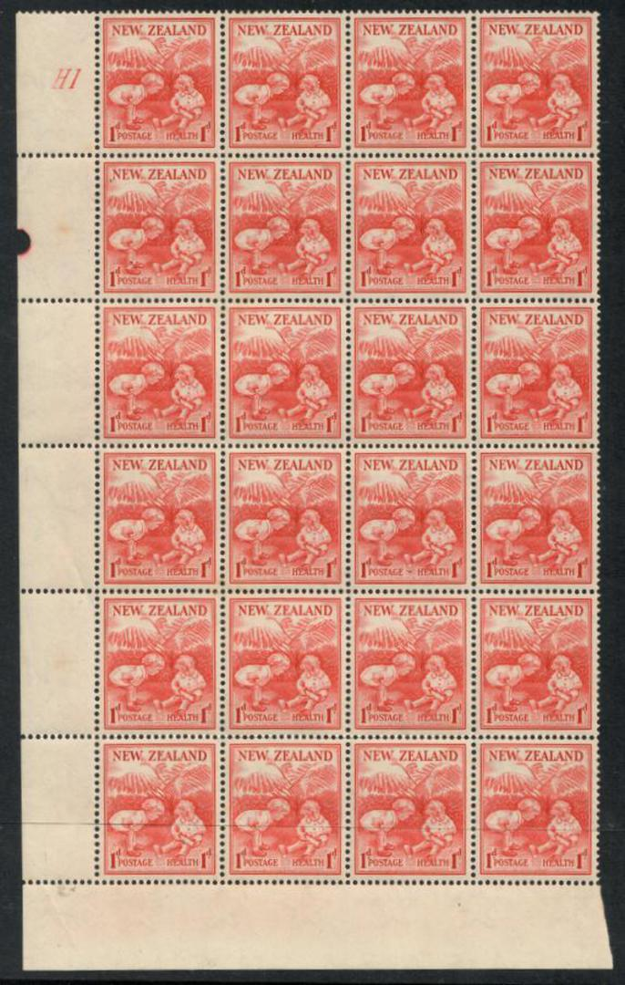 NEW ZEALAND  1938 Health  Block of 24.  Plate H1 - 19704 - Used image 0
