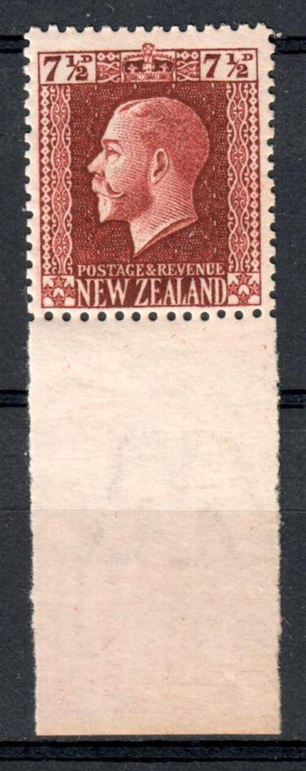 NEW ZEALAND 1915 Geo 5th Definitive 7½d Brown in fine never hinged condition with hugh lower selvedge show Letters Watermark. - image 0