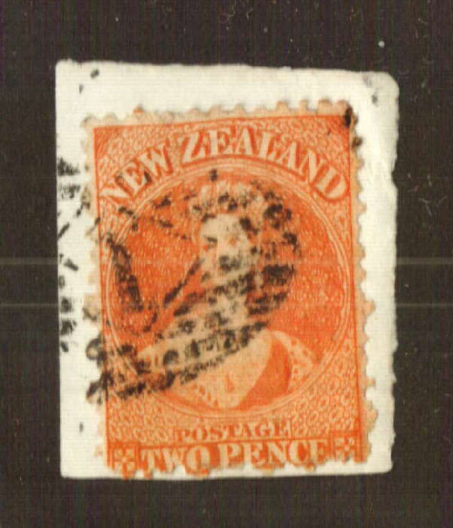 NEW ZEALAND 1862 Full Face Queen 2d Orange. Perf 12½. Reasonable copy soaked off its original piece. - 71290 - Used image 0