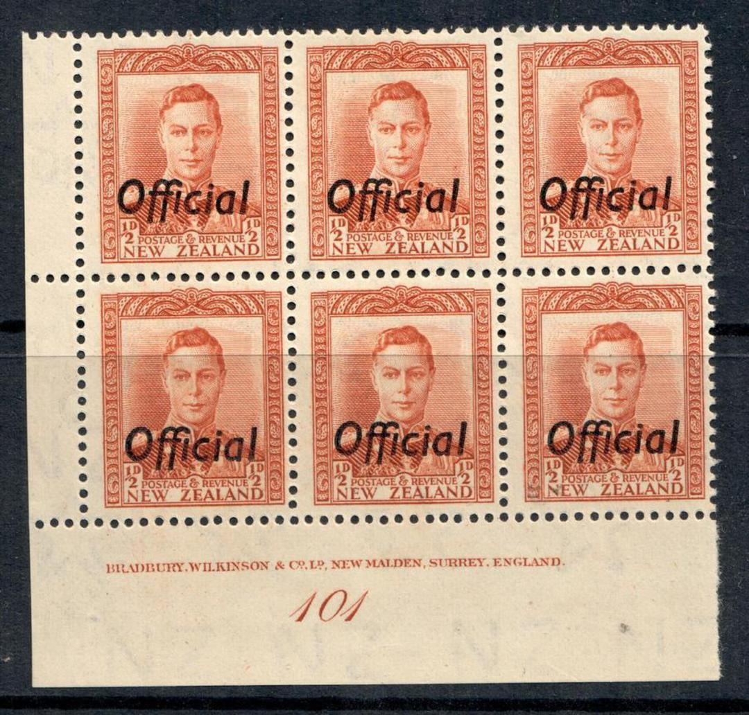 NEW ZEALAND 1938 Geo 6th Official ½d Chestnut. Plate 101. - 50537 - UHM image 0