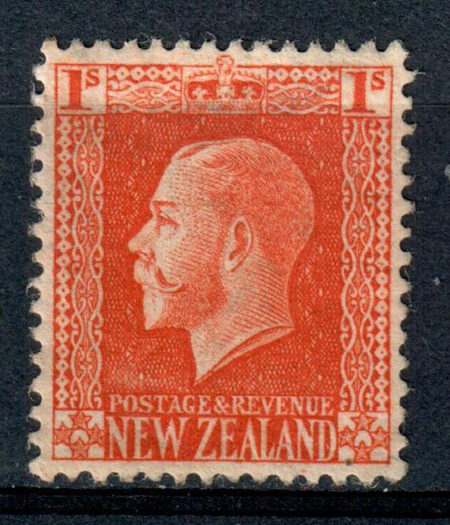 NEW ZEALAND 1915 Geo 5th Definitive 1/- Vermilion. Cowan paper. Perf 14x14½. Watermark 7. - 4191 - UHM image 0