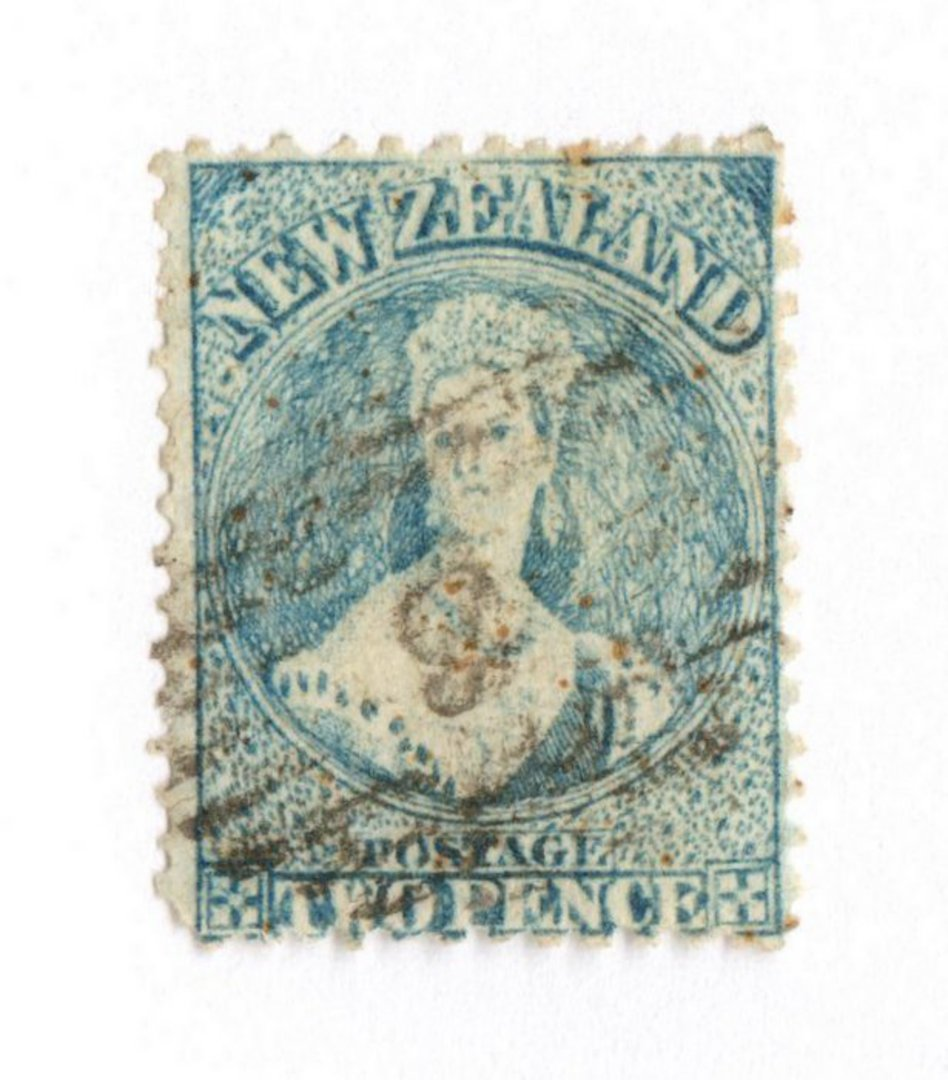 NEW ZEALAND 1862 Full Face Queen 2d Blue. Perf 12½. Row 18/5 variety. - 74038 - Used image 0
